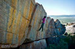 Michele Caminati in mid flight on the aptly named Leap of Faith, Rocklands, South Africa
