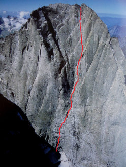"The rock face and route line of  ""Memento Mori"", repeated and soloed for the first time by Rossano Libera on 17 - 18 July 2012."