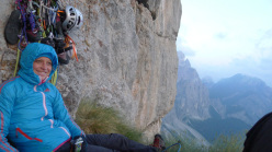 Mayan Smith-Gobat at the bivy on Donnafugata, Torre Trieste, Civetta, Dolomites