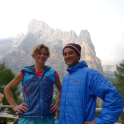 Mayan Smith-Gobat and David Falt after their July 2012 repeat of Donnafugata sulla Torre Trieste, Civetta, Dolomites