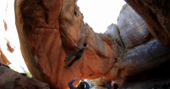 Michele Caminati on El Corazon 8B, Rocklands, South Africa