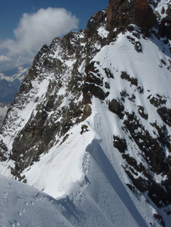 Encountering cornices along the Scerscen - Bernina traverse