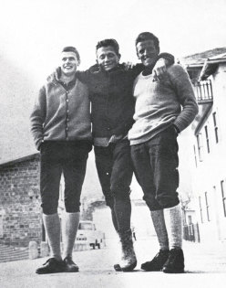 R. Messner, S. Mayerl and H. Messner after the first winter ascent of North face of Monte Agnèr in 1968.
