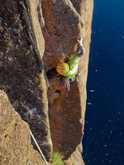 Steve Bradshaw high on Improbability Drive, The Impossible Wall, Greenland.