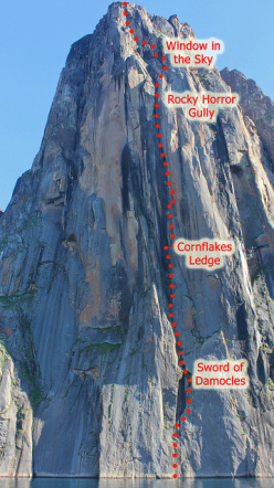 Improbability Drive (850m, 7b, Steve Bradshaw, Dave Glass, Clinton Marteningo, Andrew Porter 07/2012 ), Impossible Wall, Greenland