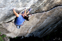 Barbara Bacher sending her first 8c, Schwarzer Schwan at the Austrian crag Armelenwand