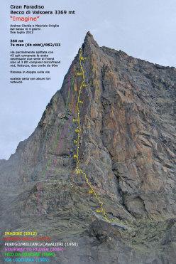 Alla fine dello scorso luglio, Andrea Giorda e Maurizio Oviglia hanno aperto Imagine (350m, 7a max, 6b obbl, RS2/III) nuova via sulla parete Ovest del Becco di Valsoera (Gran Paradiso).