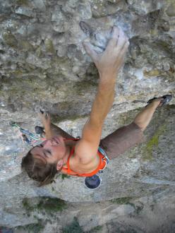 Sarah Seeger climbing Chrisu 8c, Rottachberg, Germany
