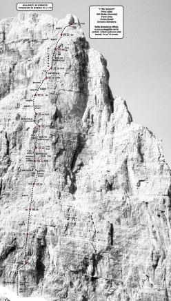 Schizzo de I Tre Giganti, parete NE Crozzon di Brenta