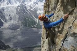 Martin Riegler climbing Ramadhan (1100m, 9-, A2 Martin and Florian Riegler), Kako Peak (4950m), Karakorum, Pakistan.