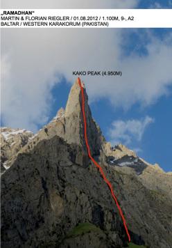 Ramadhan (1100m, 9-, A2 Martin and Florian Riegler), Kako Peak (4950m), Karakorum, Pakistan.