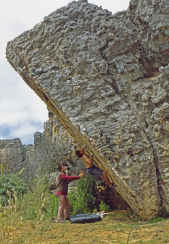 Fred Nicole making the first ascent of Oliphants Dawn 8B+, Rockland, South Africa in 2000