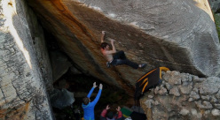 Dave Graham repeating Amandla 8B+ at Rocklands