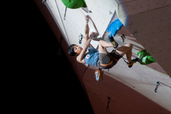 Imst, Austria: Momoka Oda climbing to victory