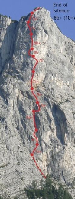 Barbara Zangerl climbing End of Silence 8b+, Feuerhorn