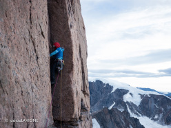 Sensory Overload (1200m, 5.11+, A1) up the NW Face of the South Tower of Mount Asgard, Baffin Island first ascended by Ines Papert, Jon Walsh and Joshua Lavigne from 24 - 26/07/2012