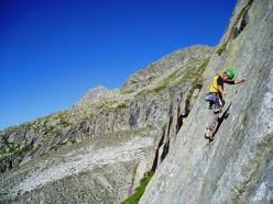 Cristian Brenna on pitch 1 of Via Gotica, Val Salarno, Adamello mountain chain.