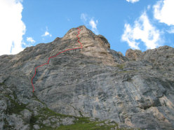 The route line up Pilastro Parmenide, Cima dell Auta, Dolomites