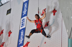 Qixin Zhong after setting the new world record at Arco 2011