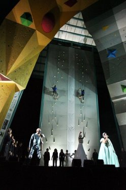 François Legrand & Lynn Hill during the opening ceremony of the Arco 2011 Climbing World Championship