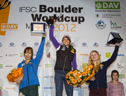 The winners of the Bouldering World Cup 2012: Akiyo Noguchi, Anna Stöhr and Shauna Coxsey