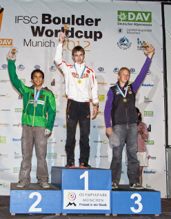 The Munich podium: Sean McColl, Dmitrii Sharafutdinov and Jakob Schubert