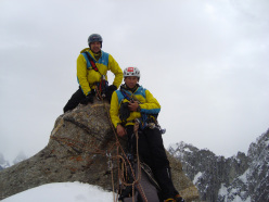 Nikolay Petkov and Doychin Boyanov on the summit of Levski Peak (5733m) on 14/08/2012.