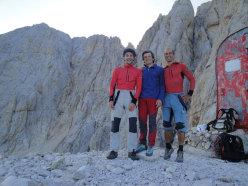 The first ascent team of Compagni dai campi e dalle officine, Gran Sasso, Corno Grande, vetta Occidentale