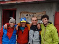 Nicola Tondini, Venturino de Bona, Alessandro Baù and Alessandro Beber at Rifugio Torrani