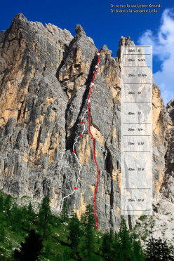 The route line of the Leila variation to the Via Leber Kenedi on Cason de Formin (Croda da Lago, Dolomites).