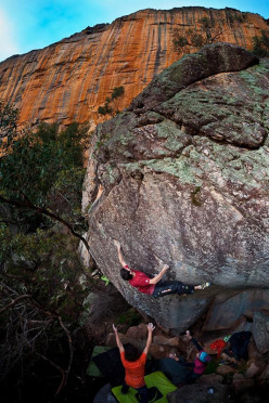 Kilian Fischhuber making the first ascent of the 8A boulder problem Wave Rock 8A, Taipan Wall, Grampians.