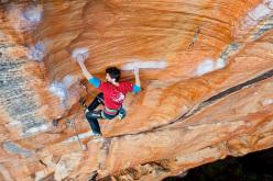 Kilian Fischhuber climbing Venom 7c, Taipan Wall, Grampians.