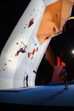 Matteo Stefani competing in the Visually Impaired Final of the Paraclimbing World Championship 2012.