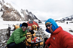 Hervé Barmasse and Daniele Bernasconi on the Biafo glacier