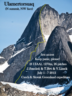 Greenland, Tasermiut Fjord: Keep Panic, Please (VIII, 1270m Tomas Brt, Vlado Linek, Jan Smolen 07/2012), NW Face of  the N summit of Ulamertorsuaq