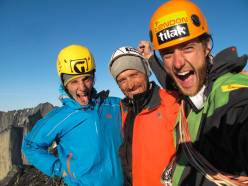 Greenland, Tasermiut Fjord: Tmas Brt, Vlado Linek, Jan Smolen on the summit of Ulamertorsuaq climbing their new route Keep Panic, Please