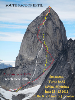 Greenland, Tasermiut Fjord: Turbo (VIII+, A2,1450m, Tomas Brt, Vlado Linek, Jan Smolen 06/2012) on the South Face of Ketil