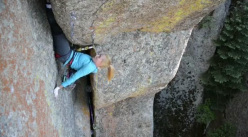 Pamela Shanti Pack climbing The Forever War, Vedauwoo, USA.