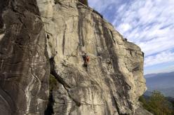 Donato Lella climbing at Monte Bracco (Monviso), Piemonte, Italy