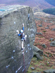 Pete Whittaker during the first ascent of