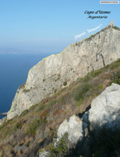 Spigolo Bonatti (6a, 240m) at Capo d'Uomo, Argentario, Tuscany, Italy