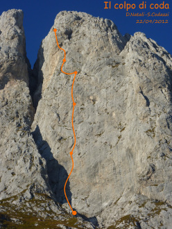 Il colpo di coda (7a+, 160m), Presolana, first ascended on 22/09/2012 by Stefano Codazzi and Daniele Natali