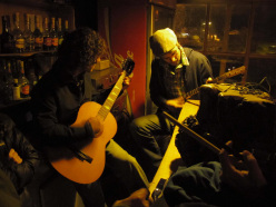 Aguja Poincenot, Patagonia: Natcho and Simon playing during a night out in El Chalten