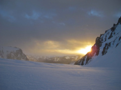 Aguja Poincenot, Patagonia: This was the sunrise on the day I skied the ramp