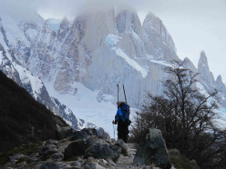 Aguja Poincenot, Patagonia: Ski mountaineering in Patagonia includes endless walking to get to the mountains.