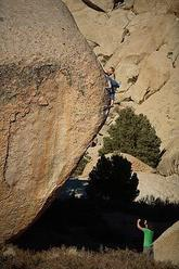 Lisa Rands high on This Side of Paradise V10, Buttermilks, Bishop, U.S.A.