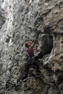 Danila Fumero climbing at San Leonardo