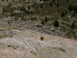 Mauro Franceschini risale il VII tiro di Carpe diem, Aiguille de Chatelet, Monte Bianco