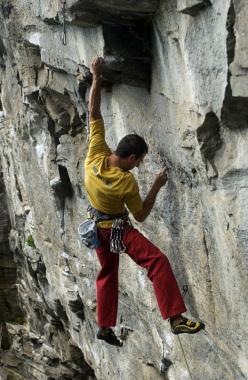 Donato Lella climbing at Rocca Bert, Piemonte