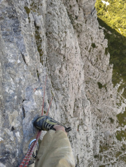 08/2012 Paolo Michielini during his solitary first ascent of Via del Lares (VI+, 150m), Crepa Toronda, Pelmo, Dolomites.